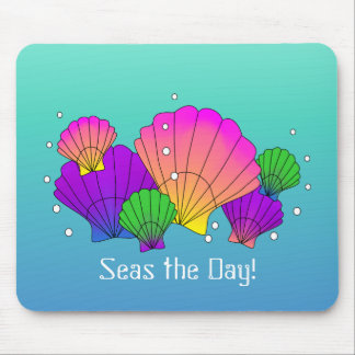 Seas the Day! Caribbean Seashells with Bubbles Mouse Pad