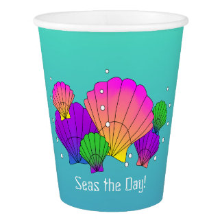 Seas the Day! Caribbean Seashells with Bubbles Paper Cup