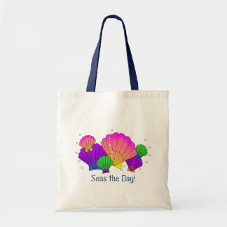 Seas the Day! Caribbean Seashells with Bubbles Tote Bag