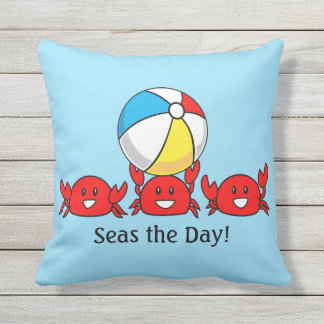 Seas the Day! Happy Red Crabs with Beach Ball Outdoor Pillow