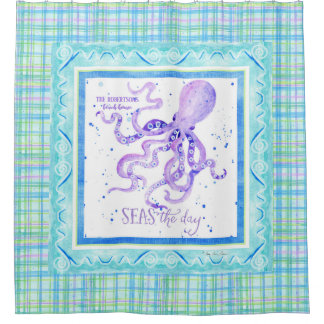 Seas the Day Octopus Beach Ocean Decor Watercolor