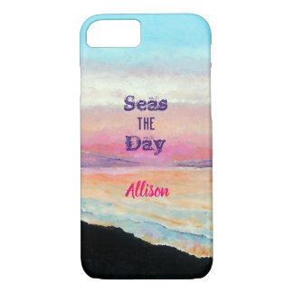 Seas The Day Quote Soft Pinks and Blues Sunset iPhone 8/7 Case