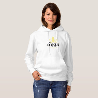 Seas The Day  Vintage Old School Surf Hoodie