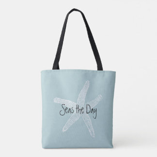Seas the Day Vintage Starfish Illustration Blue Tote Bag