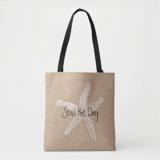 Seas the Day Vintage Starfish on Burlap Look Tote Bag
