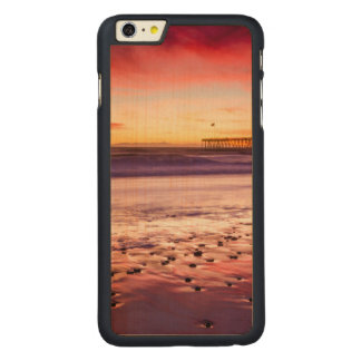 Seascape and pier at sunset, CA Carved® Maple iPhone 6 Plus Case