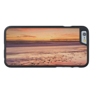 Seascape and pier at sunset, CA Carved® Maple iPhone 6 Slim Case