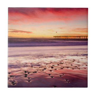 Seascape and pier at sunset, CA Ceramic Tile