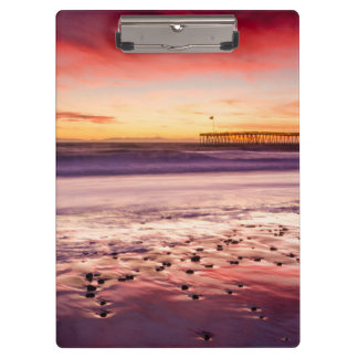 Seascape and pier at sunset, CA Clipboard