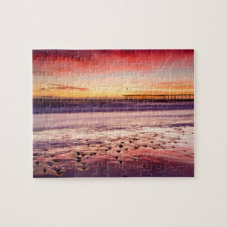 Seascape and pier at sunset, CA Jigsaw Puzzle
