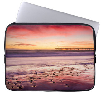 Seascape and pier at sunset, CA Laptop Sleeve