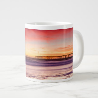Seascape and pier at sunset, CA Large Coffee Mug