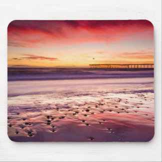 Seascape and pier at sunset, CA Mouse Pad