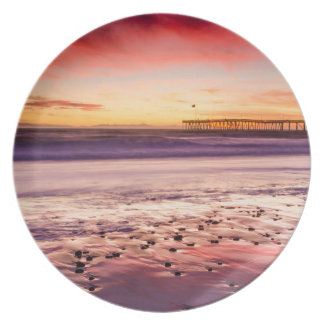 Seascape and pier at sunset, CA Plate
