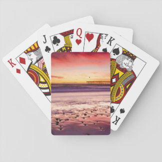 Seascape and pier at sunset, CA Playing Cards