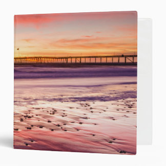 Seascape and pier at sunset, CA Vinyl Binder