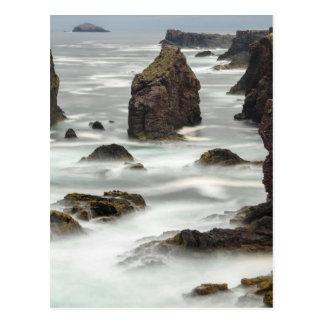 Seascape and sea stacks, Shetland Postcard