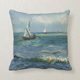 Seascape at Saintes-Maries by Vincent van Gogh Throw Pillows