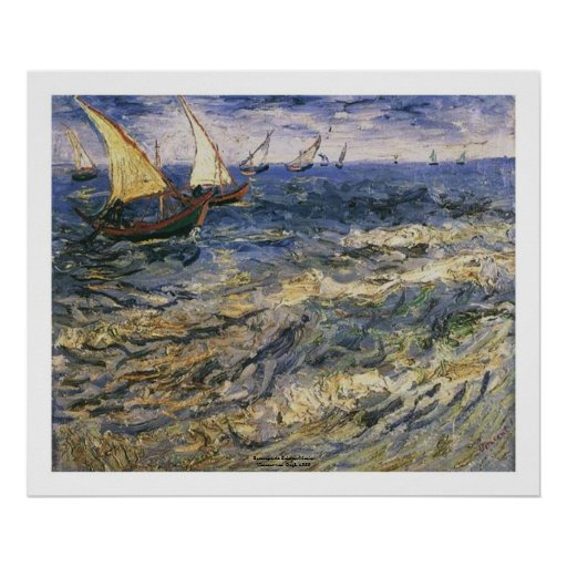 Seascape at Saintes Maries by Vincent van Gogh Posters