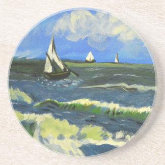 Seascape at Saintes-Maries, Van Gogh Beverage Coaster