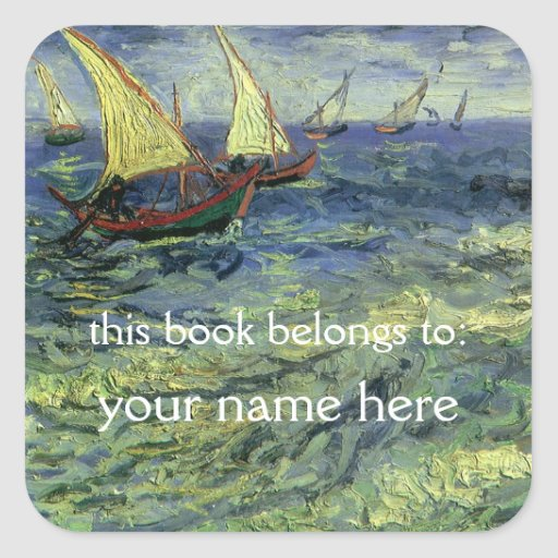 Seascape at Saintes-Maries; Van Gogh Bookplate Stickers