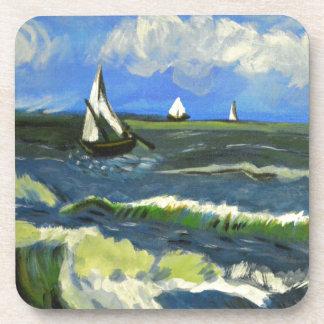 Seascape at Saintes-Maries, Van Gogh Drink Coasters