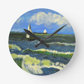 Seascape at Saintes-Maries, Van Gogh Round Clock