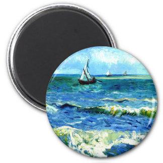Seascape at Saintes-Maries, Vincent Van Gogh 2 Inch Round Magnet