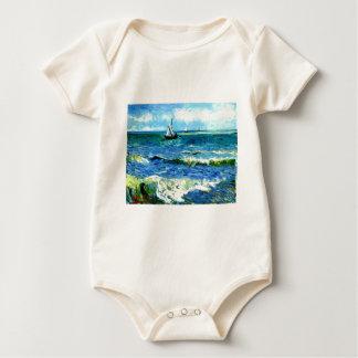 Seascape at Saintes-Maries, Vincent Van Gogh Baby Bodysuit