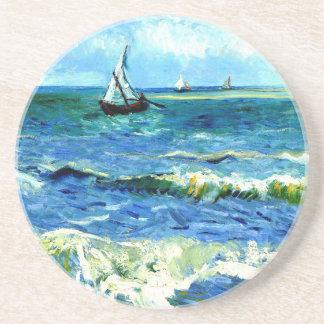 Seascape at Saintes-Maries, Vincent Van Gogh Beverage Coaster