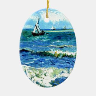 Seascape at Saintes-Maries, Vincent Van Gogh Ceramic Oval Ornament