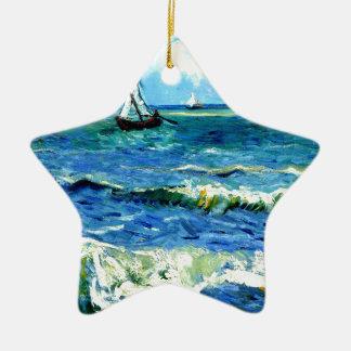 Seascape at Saintes-Maries, Vincent Van Gogh Ceramic Star Ornament