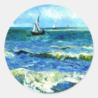 Seascape at Saintes-Maries, Vincent Van Gogh Classic Round Sticker