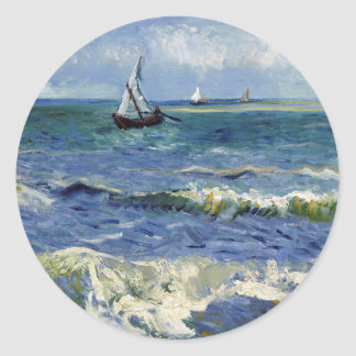 Seascape at Saintes Maries - Vincent Van Gogh Classic Round Sticker