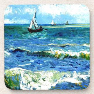 Seascape at Saintes-Maries, Vincent Van Gogh Drink Coaster