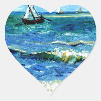 Seascape at Saintes-Maries, Vincent Van Gogh Heart Sticker