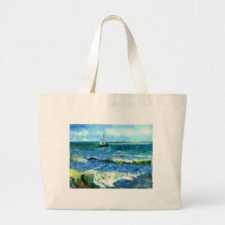 Seascape at Saintes-Maries, Vincent Van Gogh Large Tote Bag