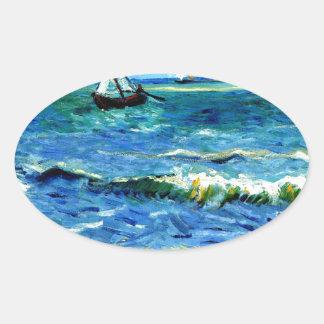 Seascape at Saintes-Maries, Vincent Van Gogh Oval Sticker