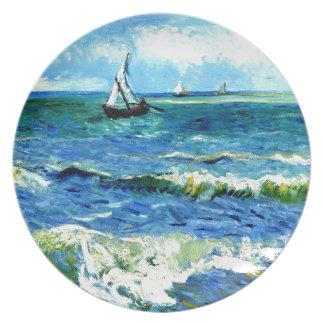 Seascape at Saintes-Maries, Vincent Van Gogh Plate