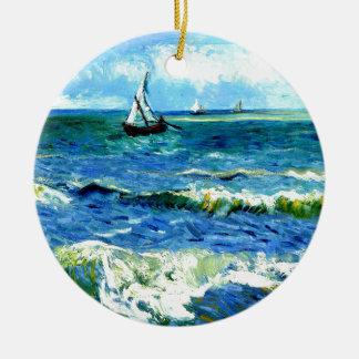 Seascape at Saintes-Maries, Vincent Van Gogh Round Ceramic Ornament