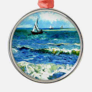 Seascape at Saintes-Maries, Vincent Van Gogh Silver-Colored Round Ornament