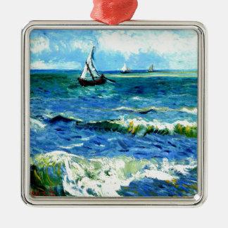 Seascape at Saintes-Maries, Vincent Van Gogh Silver-Colored Square Ornament