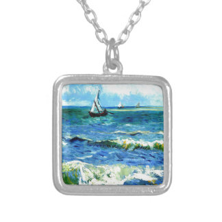 Seascape at Saintes-Maries, Vincent Van Gogh Silver Plated Necklace