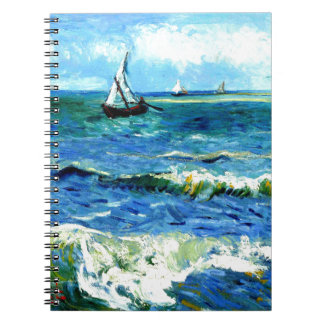 Seascape at Saintes-Maries, Vincent Van Gogh Spiral Note Book