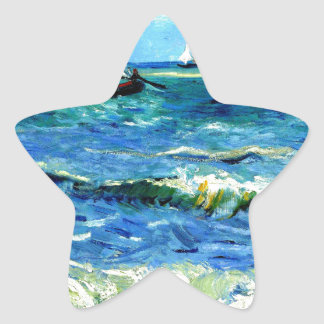 Seascape at Saintes-Maries, Vincent Van Gogh Star Sticker
