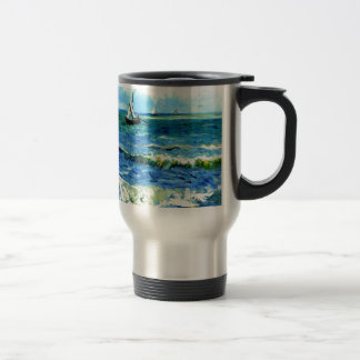 Seascape at Saintes-Maries, Vincent Van Gogh Travel Mug