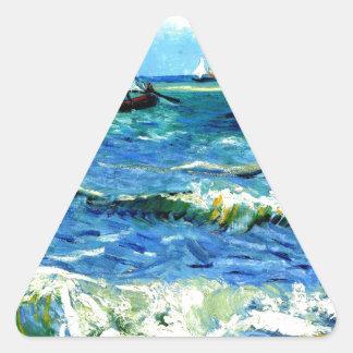 Seascape at Saintes-Maries, Vincent Van Gogh Triangle Sticker