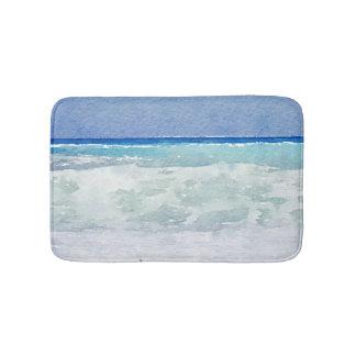 Seascape Blue and Aqua Watercolor Bath Mat