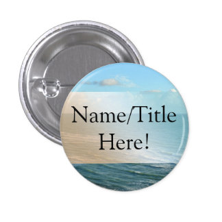 Seascape Blue and Brown Ocean Beach Wedding 1 Inch Round Button