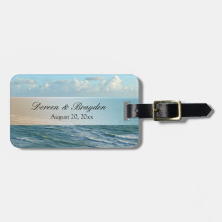 Seascape Blue and Brown Ocean Beach Wedding Luggage Tag